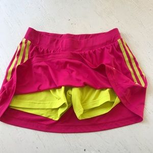 Adidas Response pink & yellow skort shorts skirt